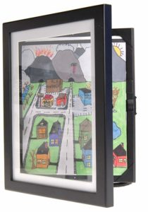 Storage art frames for kids artwork.